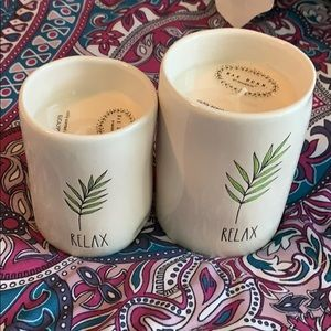 """NWT Rae Dunn set of two """"Relax"""" candles"""